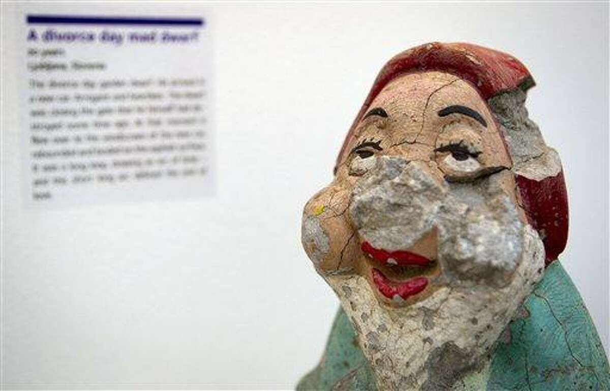 A damaged garden gnome is displayed at the Museum of Broken Relationships in Zagreb, Croatia. The exhibits, collected from all over the world, are random and varied, ranging from fake breasts to a cast from a broken leg. Each item is accompanied by a summary of dates and locations of the relationships, and notes written by their anonymous donors. Associated Press