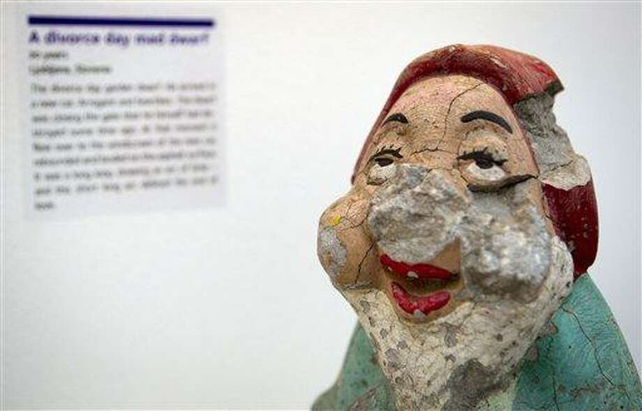 A damaged garden gnome is displayed at the Museum of Broken Relationships in Zagreb, Croatia. The exhibits, collected from all over the world, are random and varied, ranging from fake breasts to a cast from a broken leg. Each item is accompanied by a summary of dates and locations of the relationships, and notes written by their anonymous donors. Associated Press Photo: AP / AP