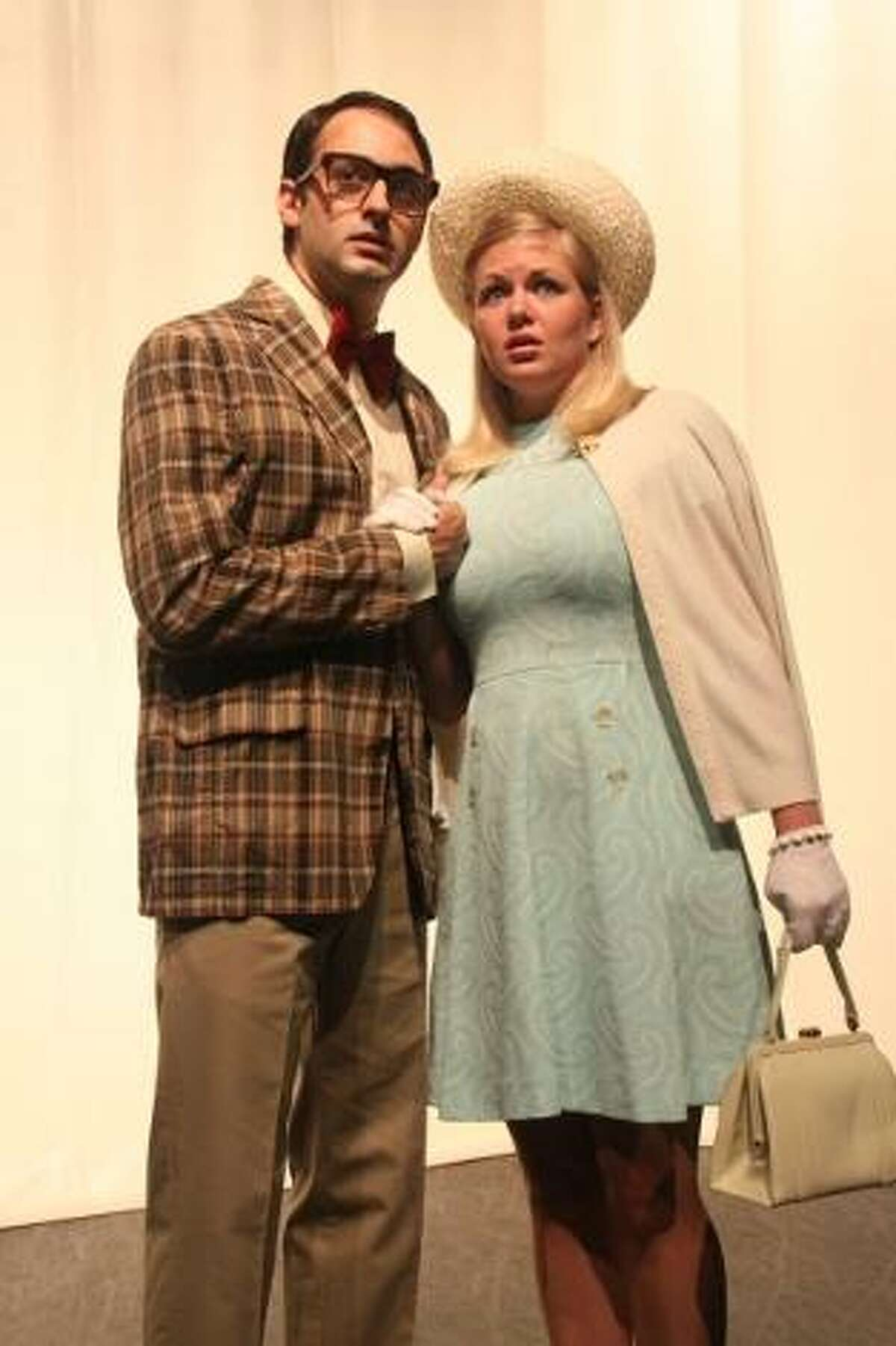 Photo by Sharon Wilcox Brad Majors (played by Dan Porri) and Janet Weiss (Julie Hart), two of the main characters in the Warner Stage Company's upcoming performances of
