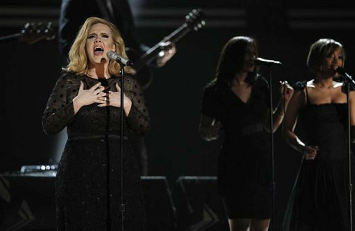 Adele performs during the 54th annual Grammy Awards on Sunday in Los Angeles. Associated Press
