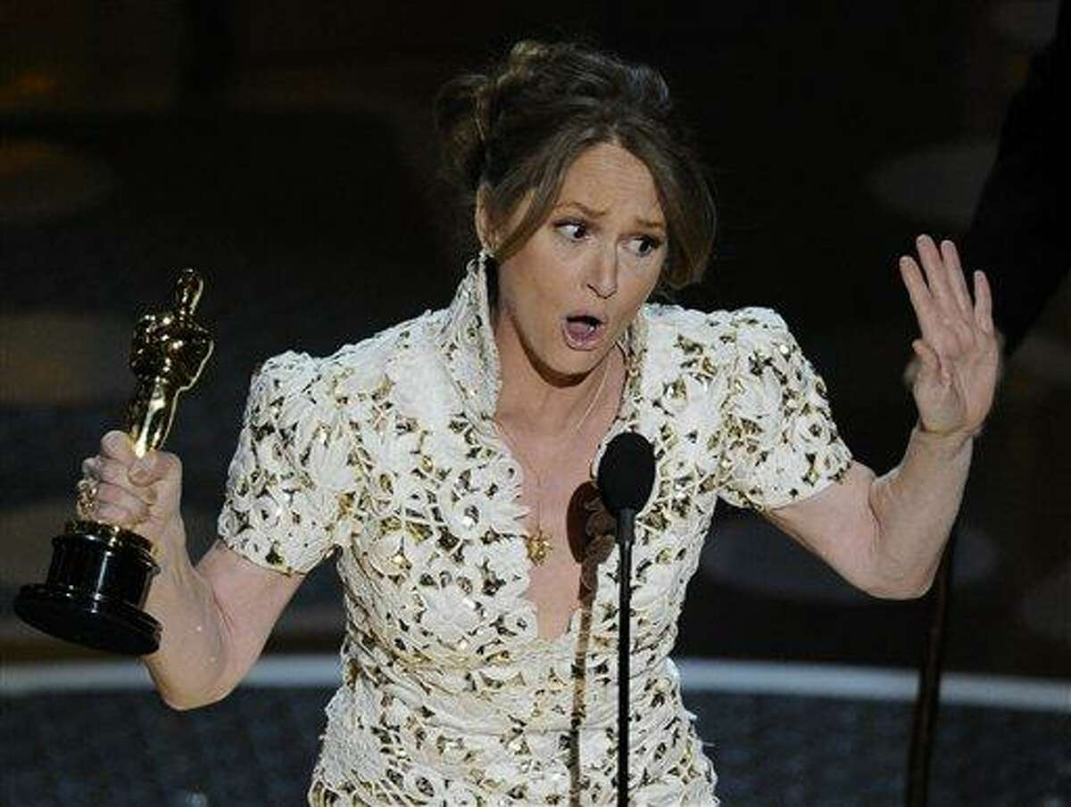 Melissa Leo accepts the Oscar for best actress in a supporting role for