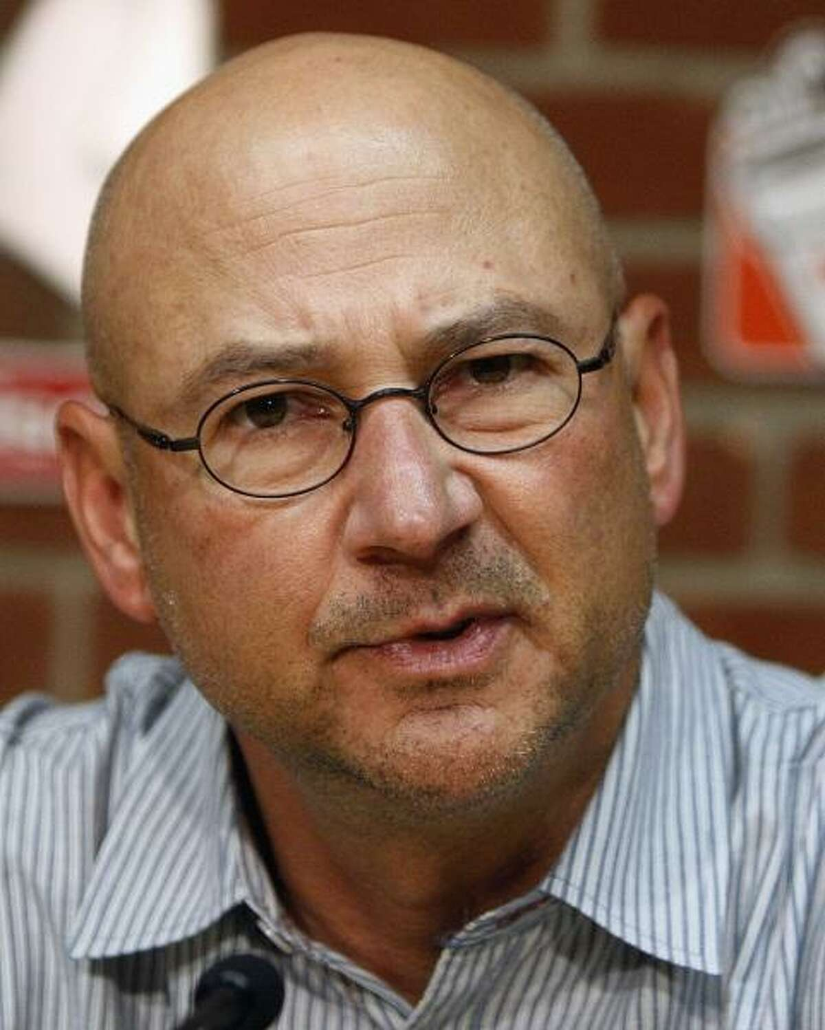 Former Boston Red Sox baseball manager Terry Francona speaks during a news conference, Friday, Sept. 30, 2011, in Boston. The Red Sox announced they will not pick up the option on Francona's contract in the wake of the team's September collapse. (AP Photo/Bizuayehu Tesfaye)