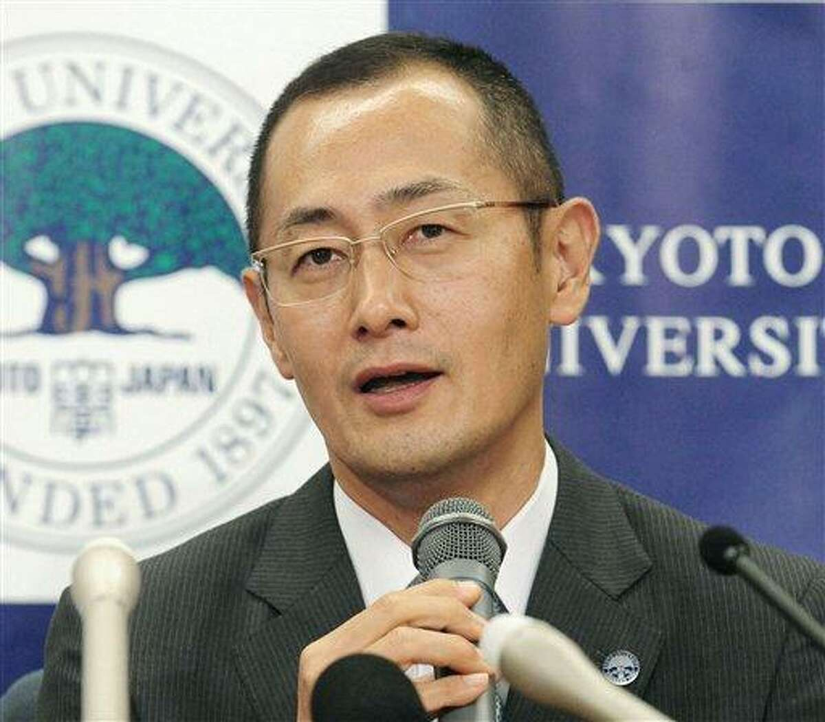 Kyoto University Professor Shinya Yamanaka speaks Monday during a news conference at Kyoto University in Kyoto, western Japan, after learning that he and British researcher John Gurdon won this year's Nobel Prize in medicine. Associated Press/Kyodo News