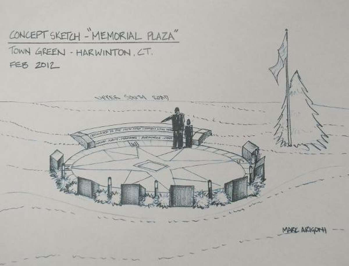 Submitted image An artist's rendering of the planned revamp of a war memorial in Harwinton.
