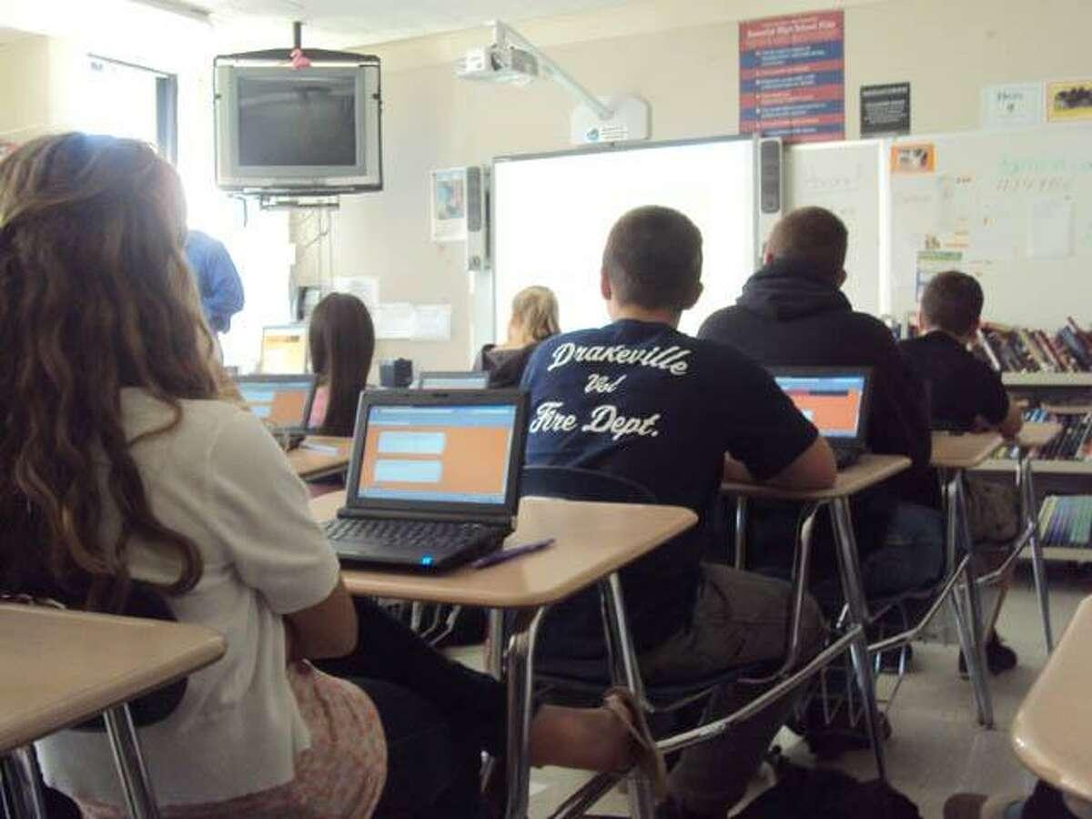 RICKY CAMPBELL/Register Citizen A class at Wamogo Regional High School.