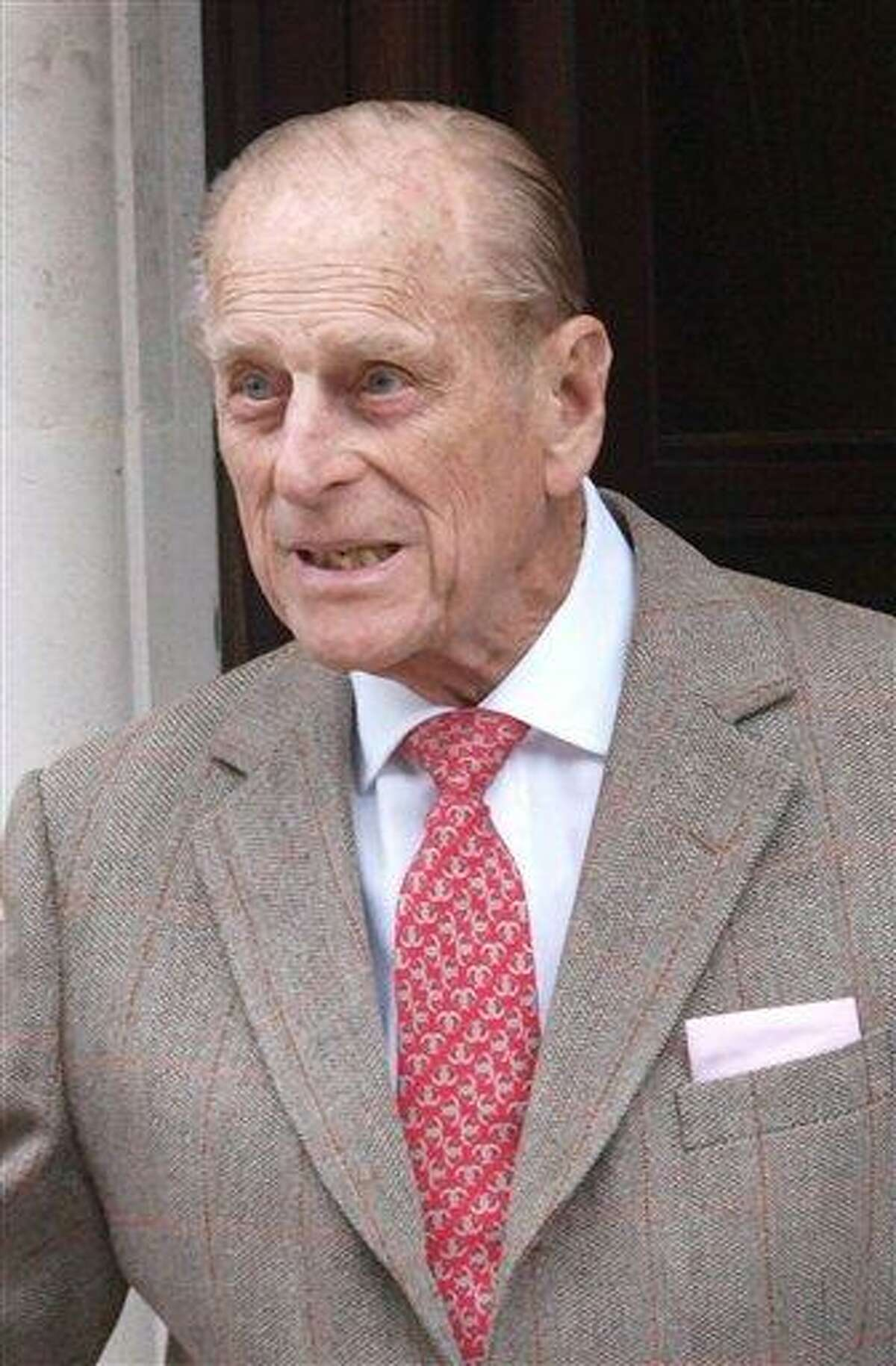 Prince Philip, Duke of Edinburgh, leaves King Edward VII Hospital in central London Saturday after being treated for a bladder infection. The duke will celebrate his 91st birthday Sunday privately with members of the family. On Friday he enjoyed the company of grandsons the Duke of Cambridge and Prince Harry who paid a short, private visit to the hospital. Associated Press