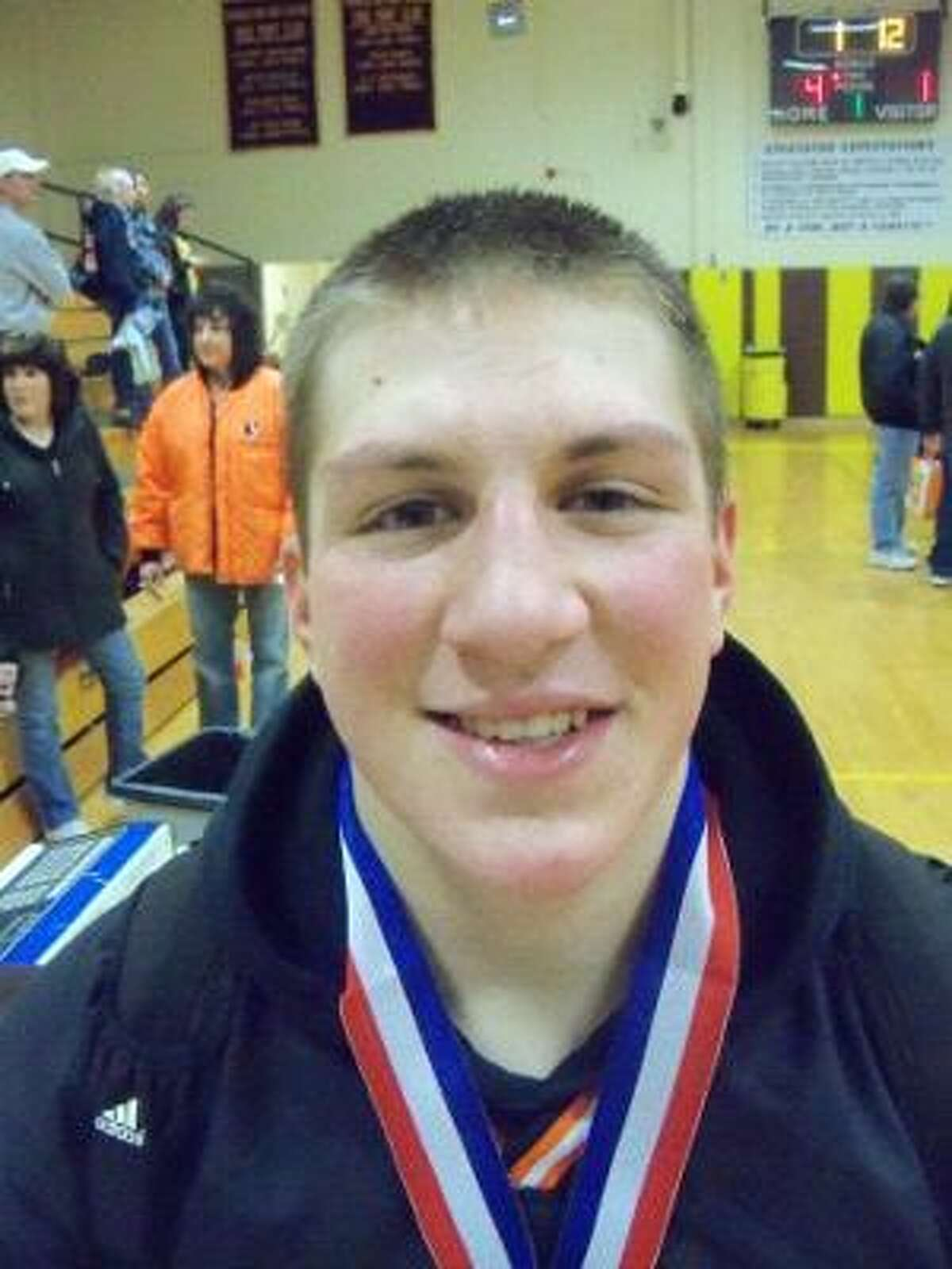 PETER WALLACE/Register Citizen Terryville's Scott LaMarre is shown Saturday at Thomaston High School. LaMarre won the Berkshire League title at 160 pounds. Terryville captured the Berkshire League tournament championship for the first time since 1987.