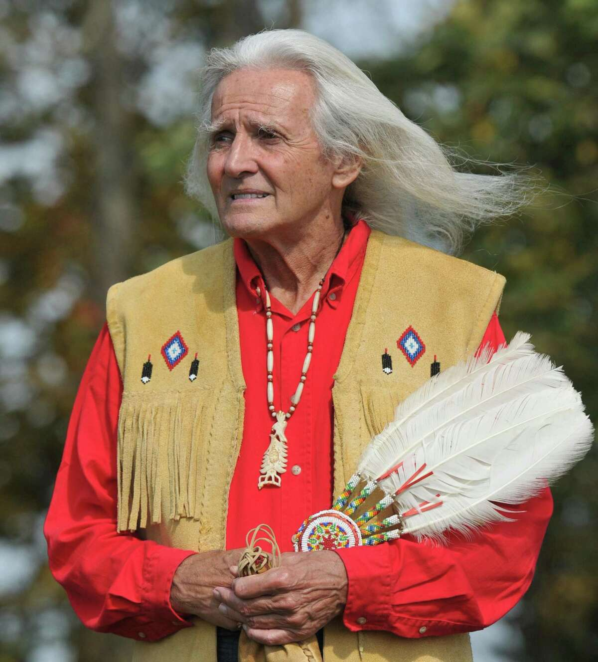 Sequoyah Trueblood, of the Oklahoma Chuctaw Nation takes in the sights at the Hammonasset Jamboree. Peter Casolino/New Haven Register