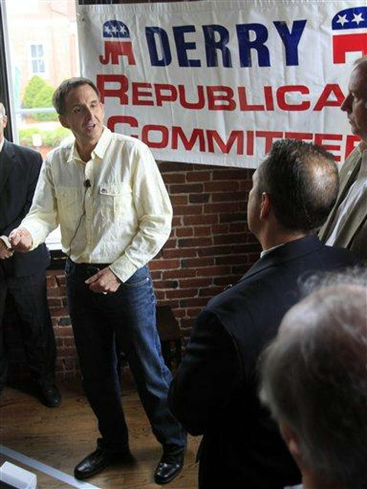 Republican 2012 presidential hopeful, former Minnesota Gov. Tim Pawlenty speaks at Halligan Tavern during a meet and greet sponsored by the Derry Republican Committee, Sunday, June 12, 2011 in Derry, N.H. (AP Photo/Jim Cole)