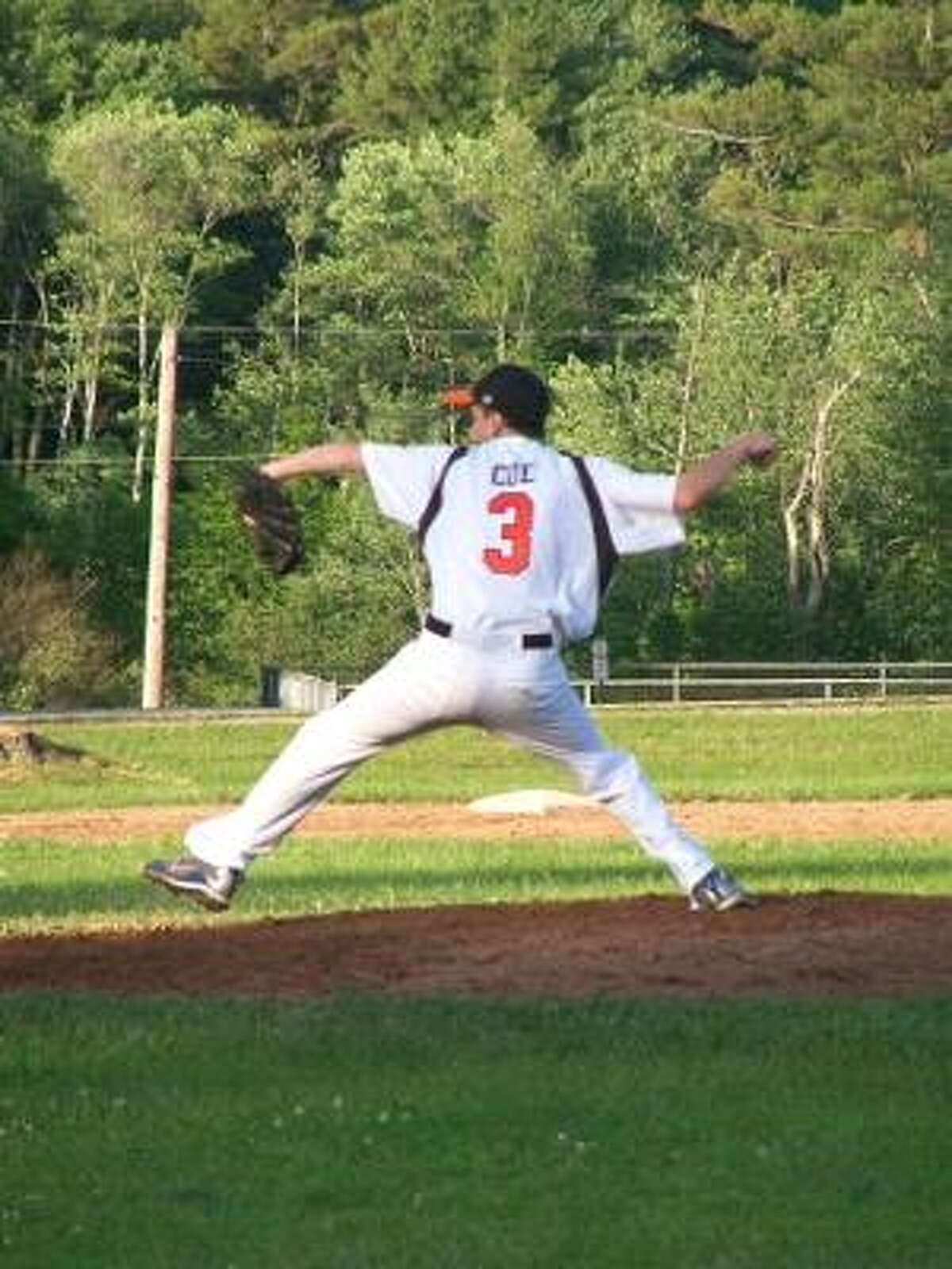 PETER WALLACE/Register Citizen NWCT Orioles starter Brandon Coe throws a pitch during Monday evening's Connie Mack game against Litchfield at Litchfield High School. The Orioles won 6-4.