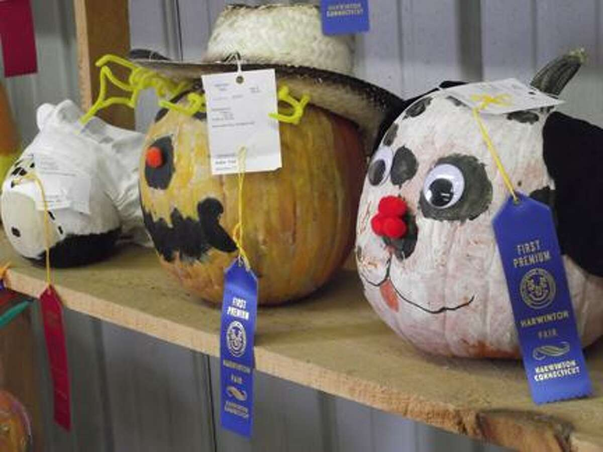 RICKY CAMPBELL/ Register Citizen Some of the winning pumpkins in the Harwinton Fair's youth barn.