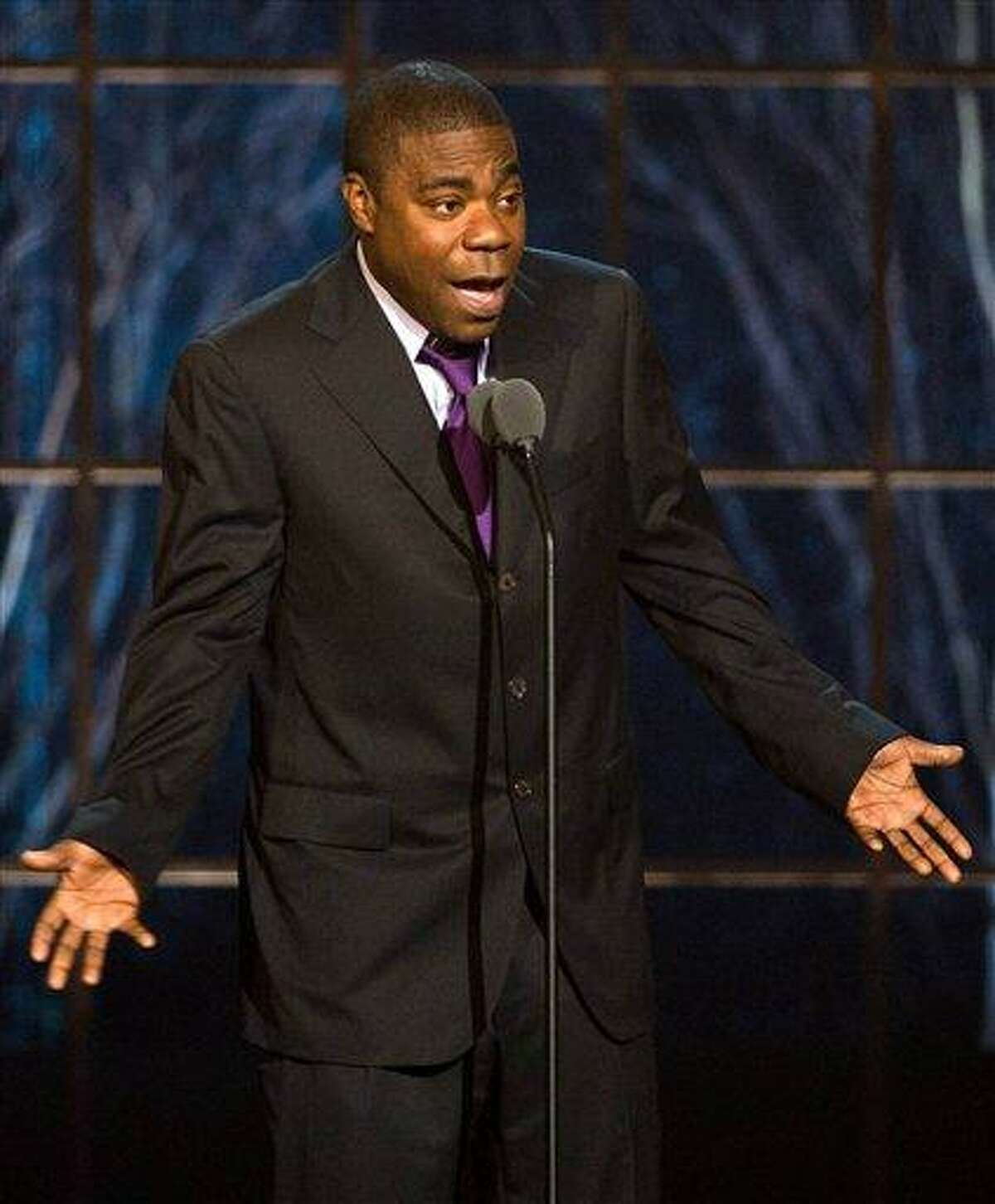 In this file photo, actor and comedian Tracy Morgan appears onstage at the ?The Comedy Awards? presented by Comedy Central in New York. Morgan says he's sorry for telling an audience that he would