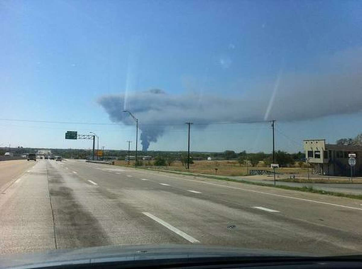 Fire at the chemical plant south of Dallas. Photo taken from Dallas News blog The Scoop. Submitted to The Scoop by Dallas News staff writer Christian Rosales.