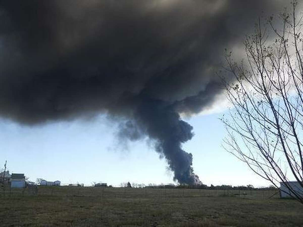 Three miles from fire at chemical plant south of Dallas, Texas. Photo taken from Dallas News blog The Scoop. Submitted to The Scoop by John Granatino, retired Dallas Morning news executive. He Lives 3 miles from the plant.