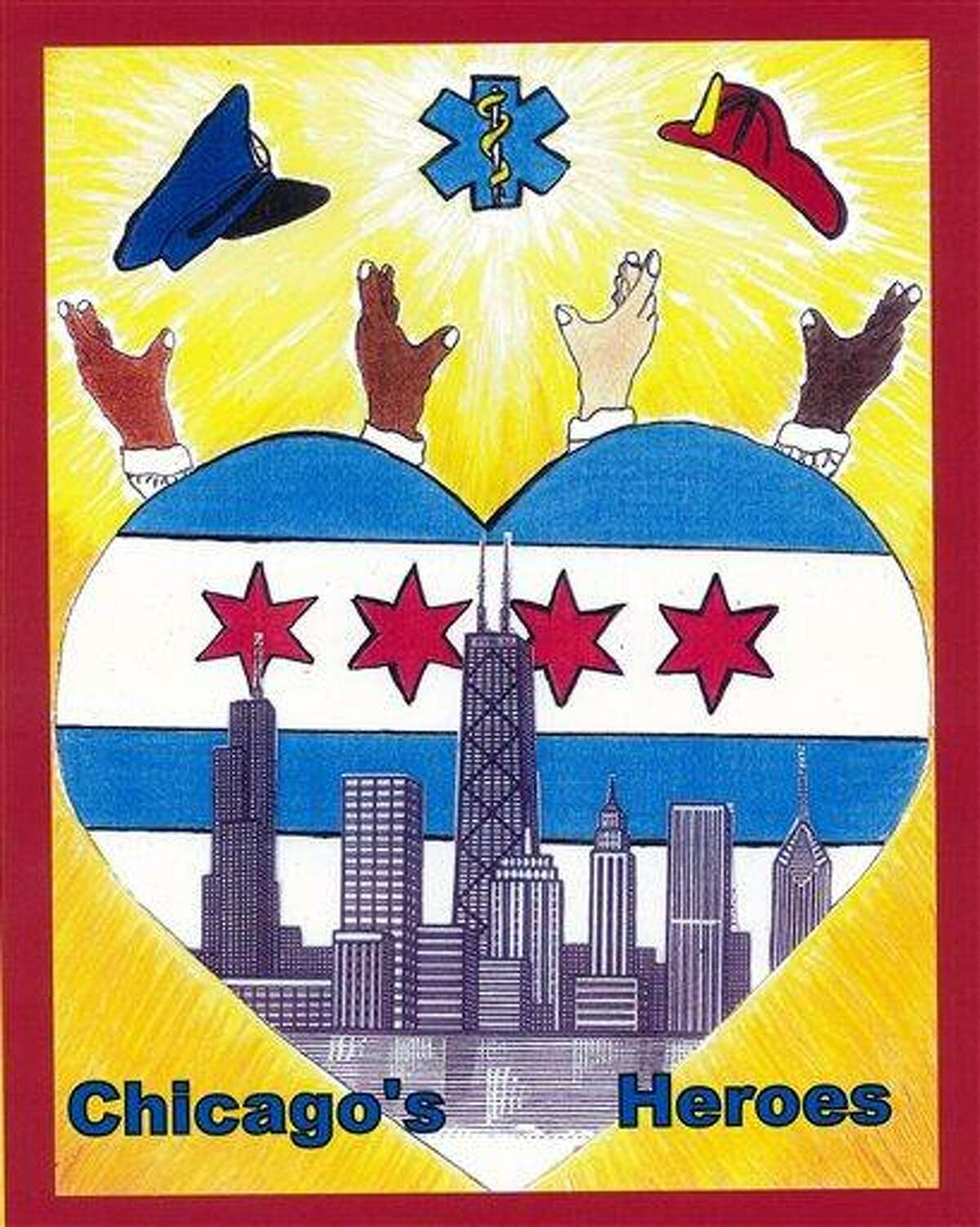 This photo taken Nov. 28, 2011 shows the winning design for the 2012-13 city of Chicago vehicle sticker that was axed Wednesday by Chicago City Clerk Susana Mendoza contending some may believe it depicts street gang signs. At the time his design was chosen winner of the city vehicle sticker student-art contest, 15-year-old Herbert Pulgar, said it was meant to honor city firefighters, paramedics and police. It includes the city's skyline inside a heart, with hands pointing toward a police hat, firefighter helmet and paramedic symbol. Officials sat the clerk's office began receiving calls Tuesday, after a blogger identified the hands depicted on the sticker as symbols flashed by members of a street gang. Associated Press