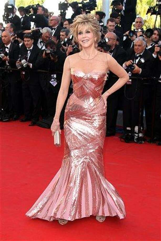 """This May 16, 2012 file photo shows actress Jane Fonda arriving for the opening ceremony and screening of """"Moonrise Kingdom"""" at the 65th international film festival, in Cannes, southern France.  Fonda stars in the new film, """"Peace, Love & Misunderstanding"""" that debuts in limited release and on Video On Demand on Friday, June 8. Photo: AP / AP2012"""