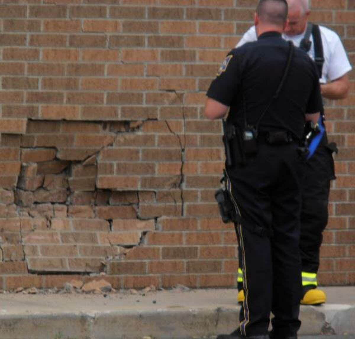 Submitted photo. Torrington resident Kathleen Jasmin was at Aldi's at the time of the accident and snapped this photo of the wall after it was hit.