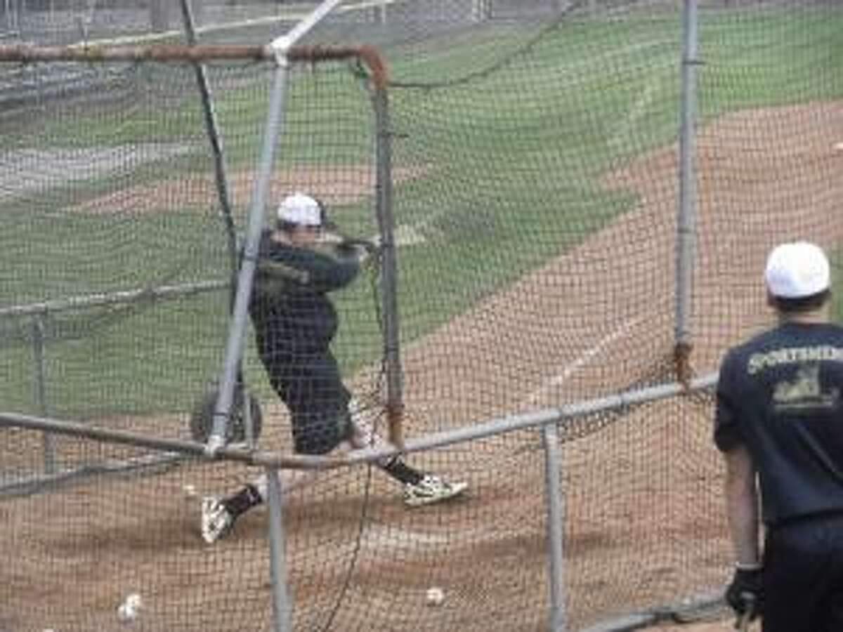 KEVIN D. ROBERTS/Register Citizen Torrington Titan Conor Bierfeldt connects during batting practice on Wednesday at Fuessenich Park in Torrington. The Titans open the 2012 season on Thursday night at 7:05 at Fuessenich against the Wachusett Dirt Dawgs.