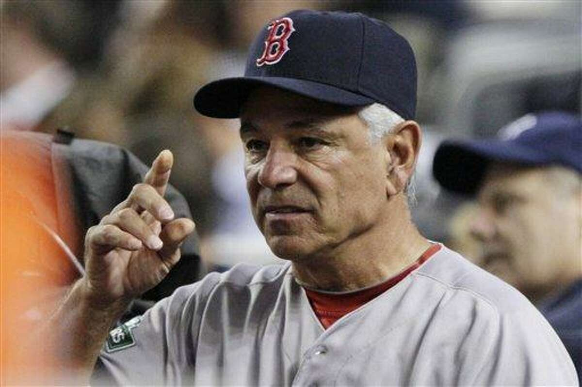 Boston Red Sox manager Bobby Valentine gestures during the fourth inning of a baseball game against the New York Yankees, Wednesday in New York. (AP Photo/Frank Franklin II)