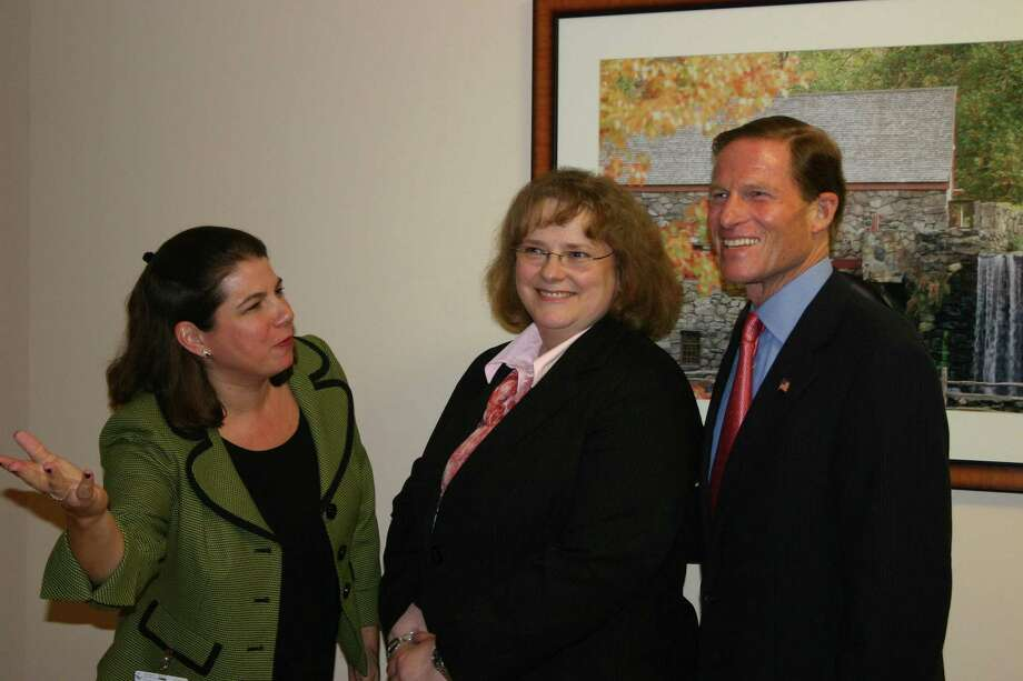U.S. Sen. Richard Blumenthal with Sharon Hospital director of public relations, Jill Musselman, far left, and Letha Walters, director of the new Center for Wound Care and Hyperbaric Medicine.