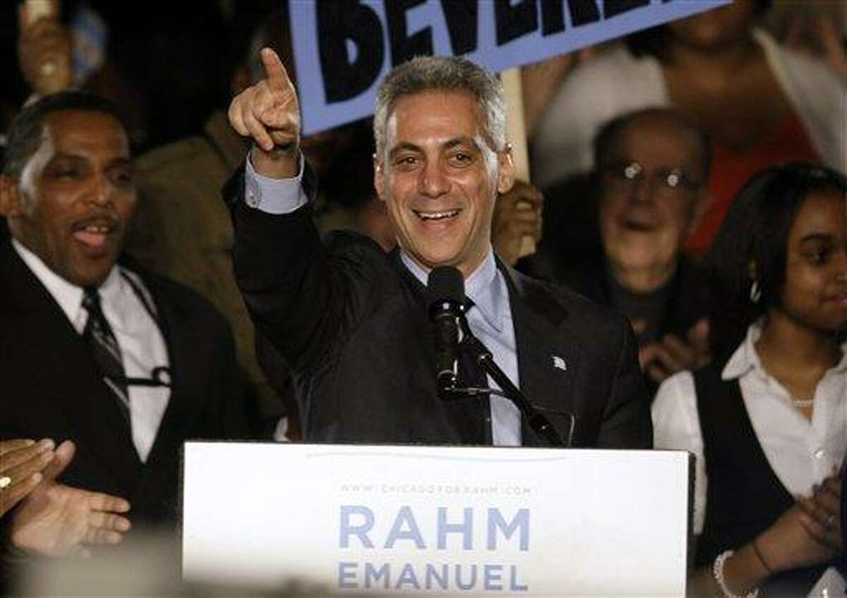 Former White House Chief of Staff Rahm Emanuel speaks at his election night party Tuesday, Feb. 22, 2011 in Chicago. Emanuel was elected mayor of Chicago Tuesday, easily overwhelming five rivals to take the helm of the nation's third-largest city as it prepares to chart a new course without the retiring Richard M. Daley. (AP Photo/Kiichiro Sato)