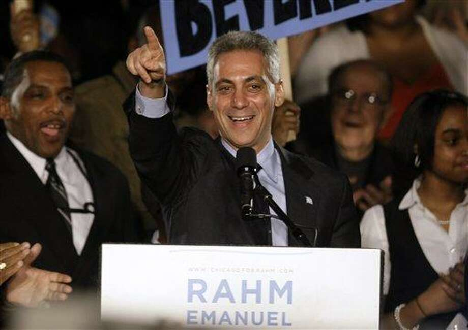 Former White House Chief of Staff Rahm Emanuel speaks at his election night party Tuesday, Feb. 22, 2011 in Chicago. Emanuel was elected mayor of Chicago Tuesday, easily overwhelming five rivals to take the helm of the nation's third-largest city as it prepares to chart a new course without the retiring Richard M. Daley. (AP Photo/Kiichiro Sato) Photo: AP / AP