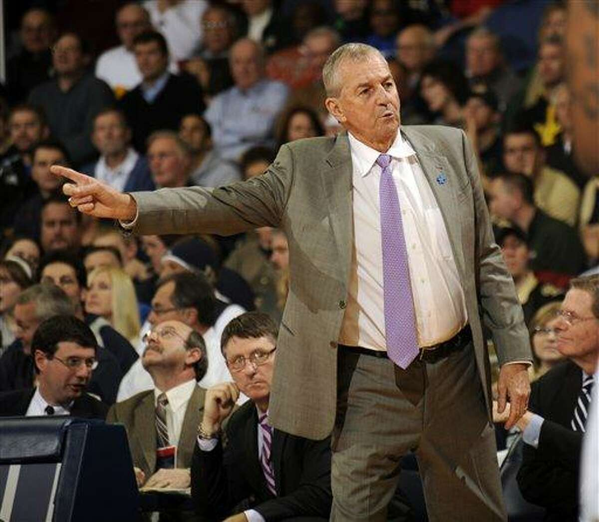 Connecticut coach Jim Calhoun reacts to a call in the second half in a NCAA college basketball game against Notre Dame, Saturday, Jan. 14, 2012, in South Bend, Ind. Connecticut won 67-53. (AP Photo/Joe Raymond)