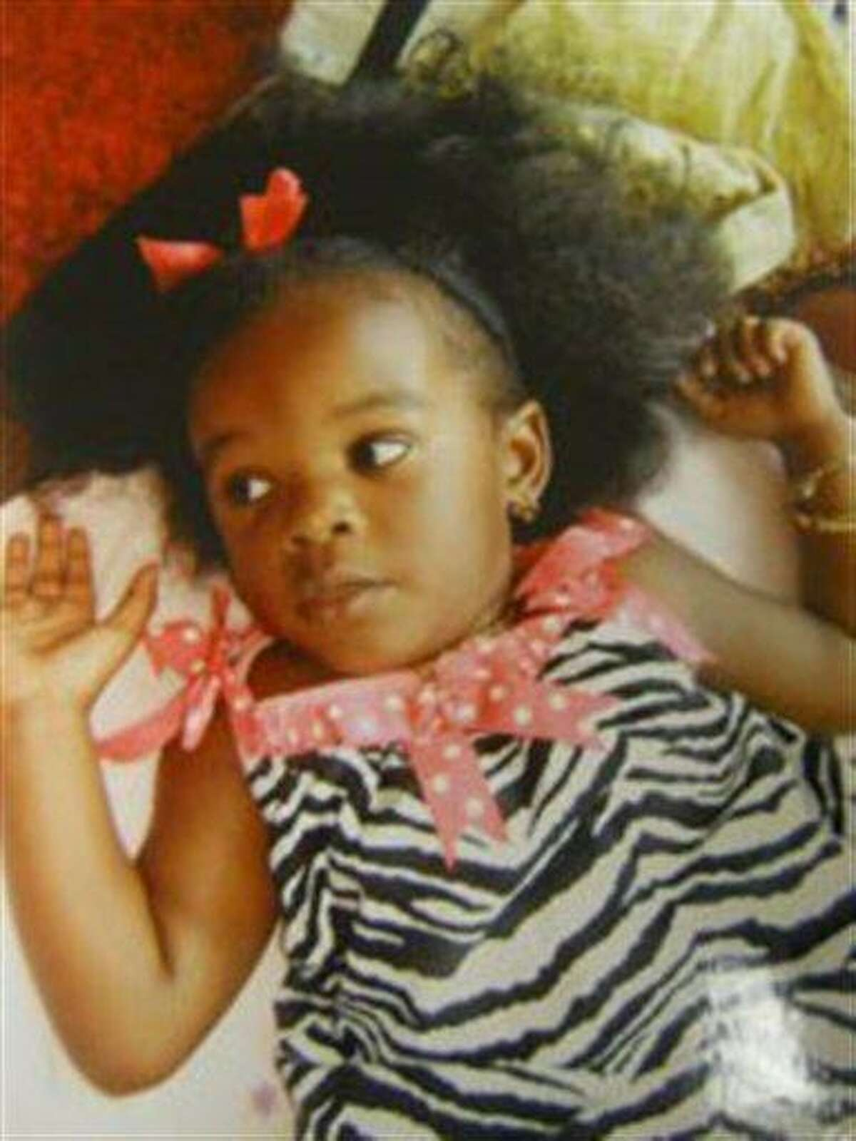 FILE - This file photo provided by the Ocean County Prosecutor's Office shows Tierra Morgan-Glover of Lakehurst, N.J., who was found dead in her car seat, partially submerged in a stream in Monmouth County's Shark River Park. The girl's father, 27-year-old Arthur Morgan III, suspected of killing the girl, was arrested in San Diego on Tuesday, Nov. 29, 2011. (AP Photo/Ocean County Prosecutor's Office, File)