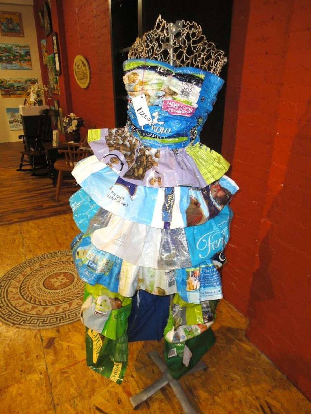 JASON SIEDZIK/ Register Citizen Theresa Cannavo recently expanded from tote bags made from upcycled feed and rice bags to dresses. To purchase a glossy photo of this picture, visit registercitizen.com.