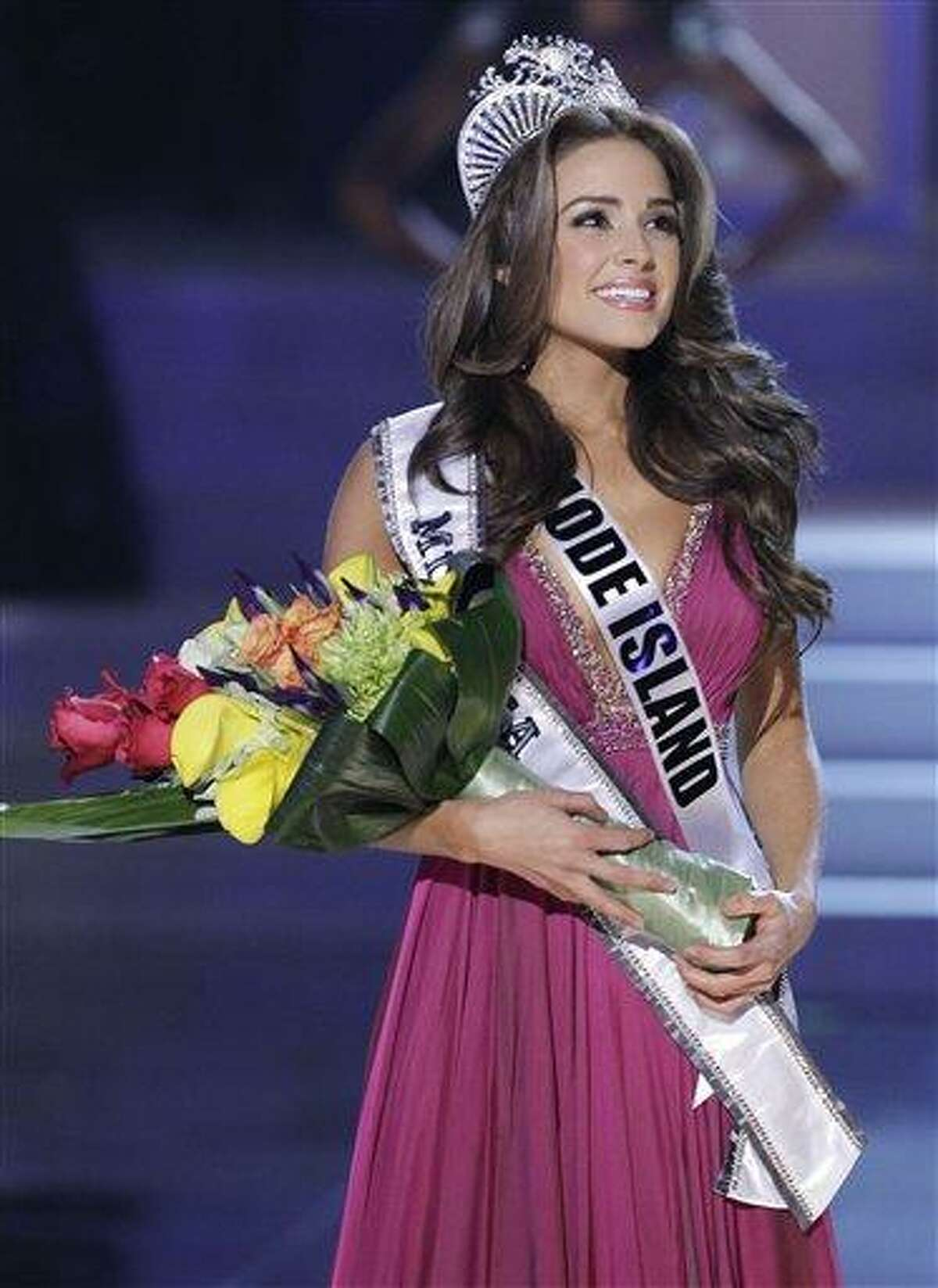 Miss Rhode Island Olivia Culpo looks toward the audience after being crowned Miss USA during the 2012 Miss USA pageant, Sunday, June 3, 2012, in Las Vegas.