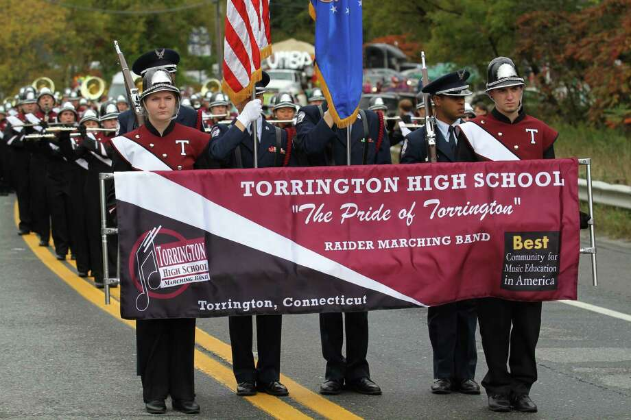 Photo by Marianne Killackey The Pride of Torrington marches to first place in North Adams, Mass., last Sunday.