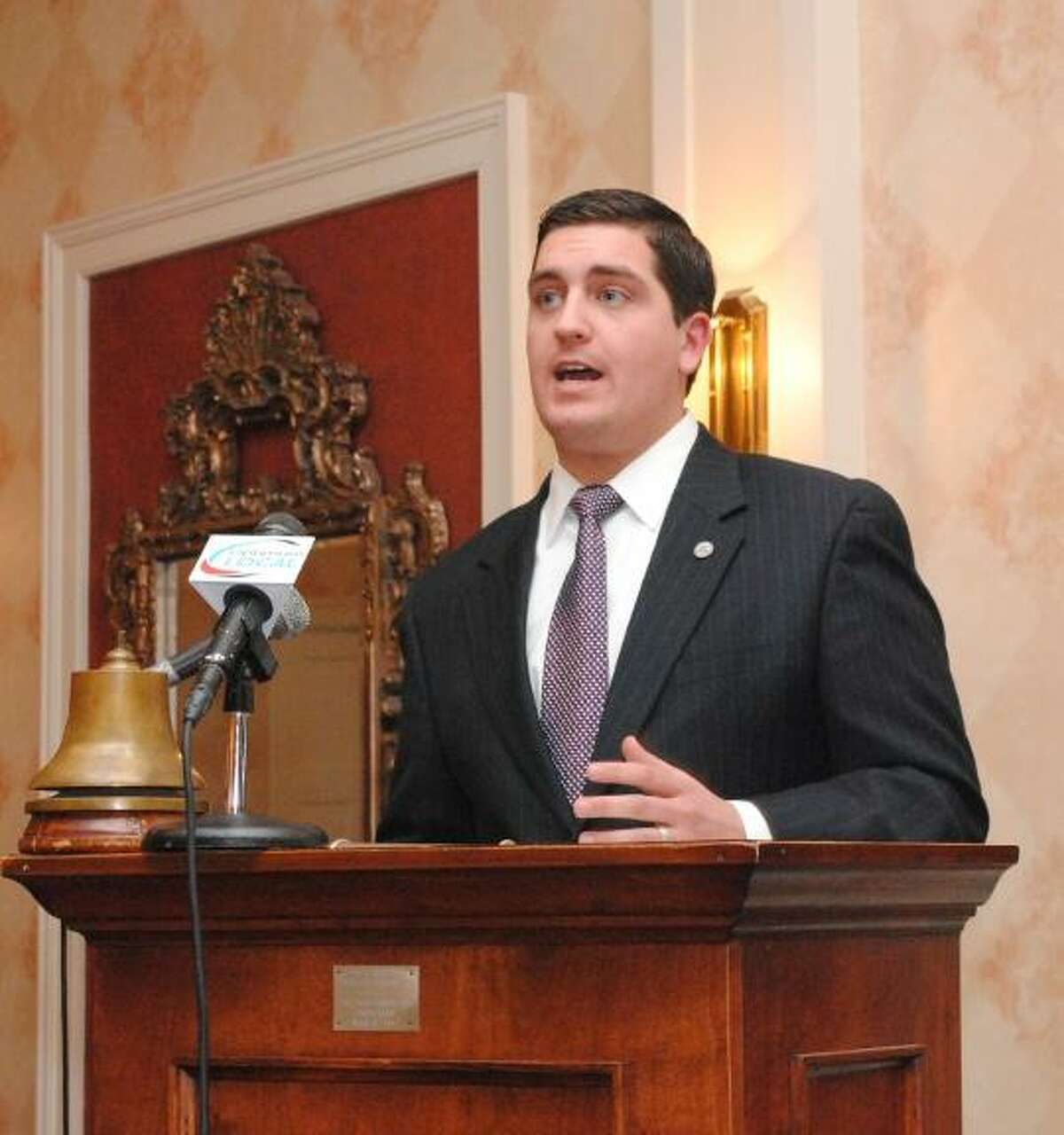 MIKE AGOGLIATI/ Register Citizen Torrington Mayor Ryan Bingham delivered his State of the City address Tuesday. The mayor said the city has done more with less as the economy continues to struggle.