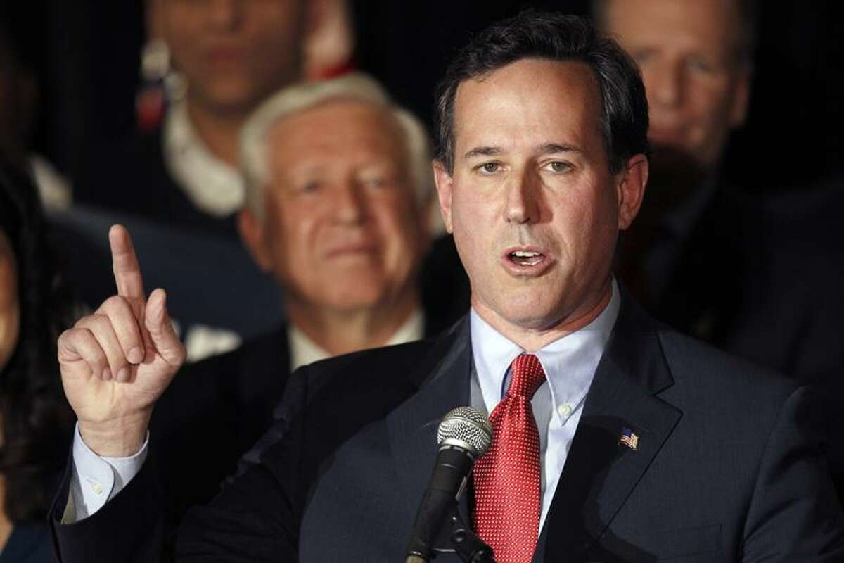 Republican presidential candidate former Pennsylvania Sen. Rick Santorum speaks during a primary night watch party Tuesday in St. Charles, Mo. Associated Press