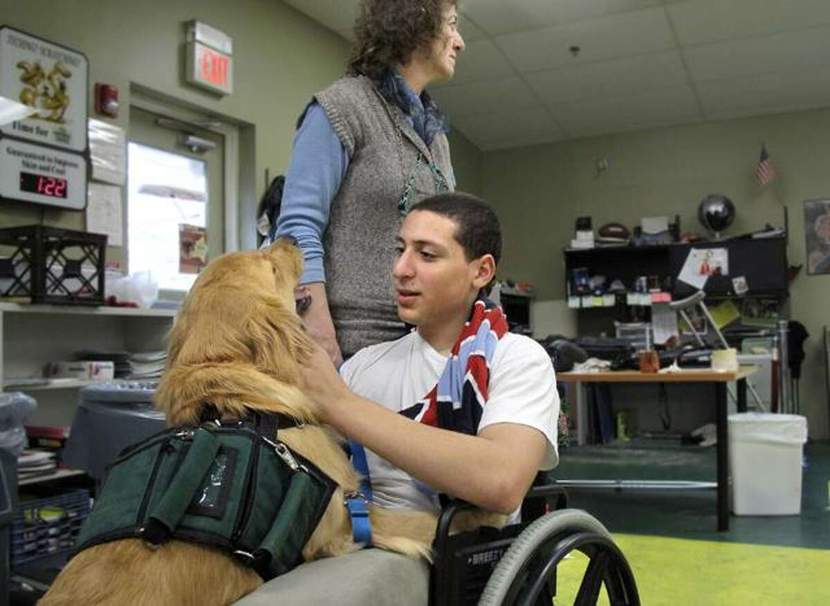 DEBBI MORELLO/ The Register Citizen Emilio, 14, attends Children's Village, an alternative school for at-risk youths. He works with ECAD, whose facility is located on Children's Village campus in Dobbs Ferry. He's training Harris to be a service dog for someone with disabilities. The boys will train the dogs sitting in wheel chairs, or standing on crutches so the dog will be ready to work in different situations.