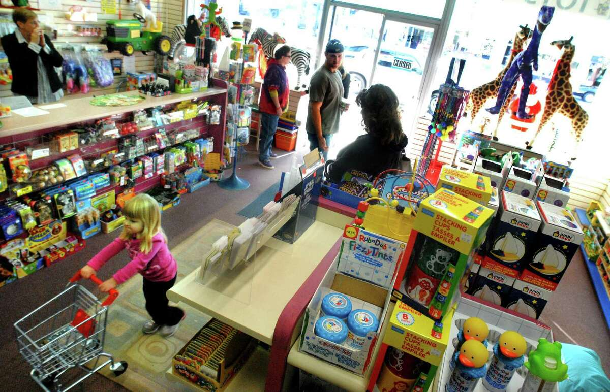 DEBBI MORELLO/Register Citizen Shoppers find their way through Torrington's Toy Jam on Saturday.