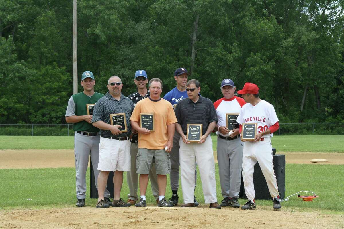 Submitted photo - Tri-State Baseball inducted this year's Hall of Fame class at Amenia Park on Sunday. From left-to-right, Rich Scott, Bill Quartiero, Harry Janner, Glynn Baron, Don Maki, Doug Werner, Joe Carroll, Mark Barry.