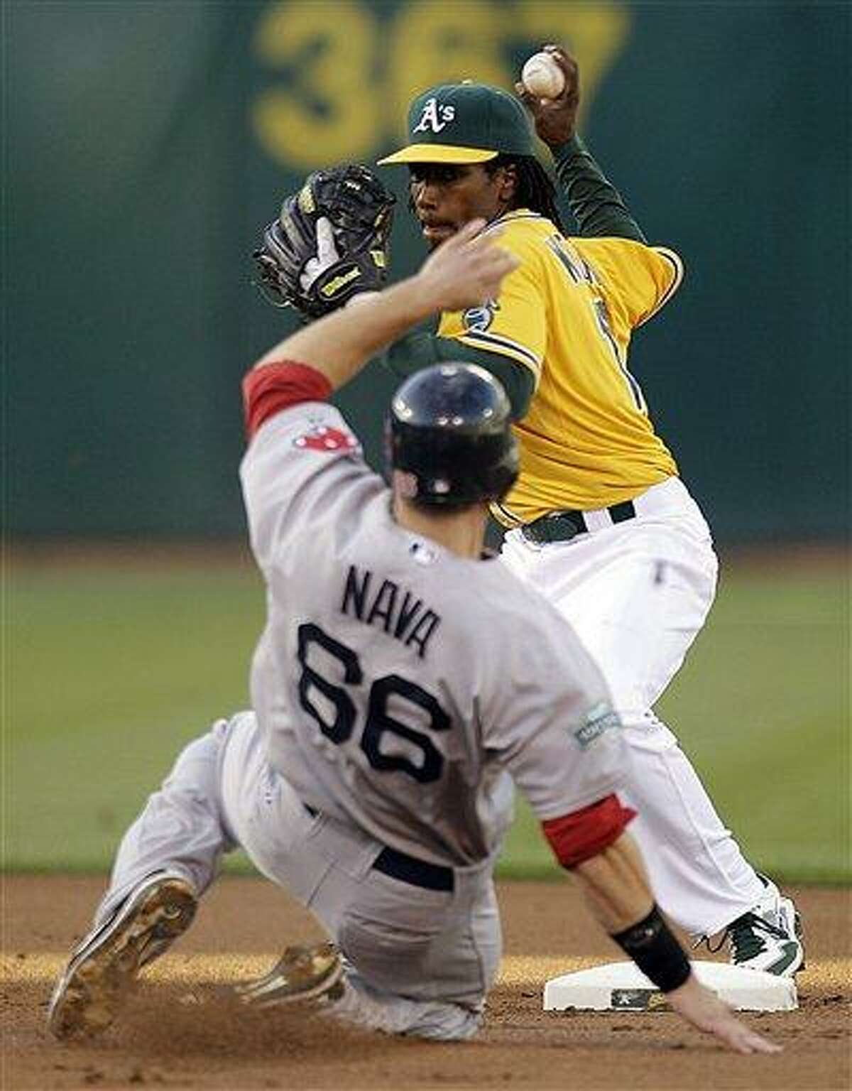 Oakland Athletics second baseman Jemile Weeks prepares his throw to first base over Boston Red Sox's Daniel Nava (66) in the first inning of a baseball game, Tuesday, July 3, 2012, in Oakland, Calif. Boston's Dustin Pedroia was out at first base. (AP Photo/Ben Margot)