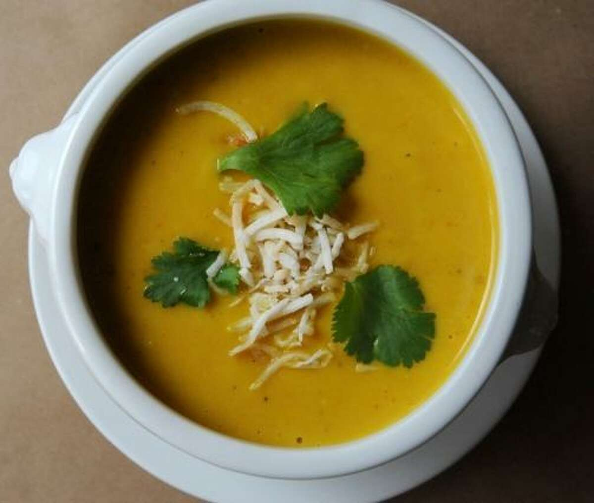 A creamy curried carrot with sweet potato soup from the Millstone Cafe.