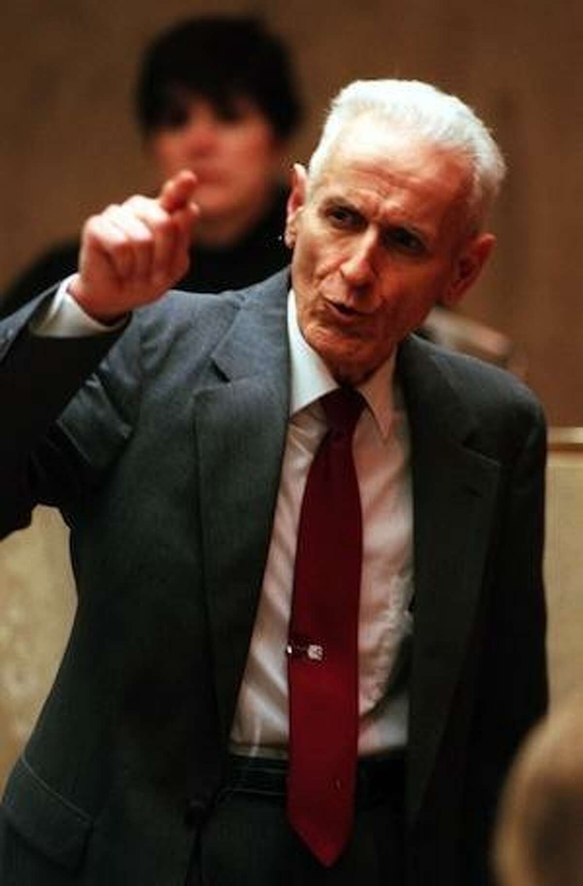 Doctor Jack Kevorkian gives his closing arguments to the jurors before Oakland County Circuit Judge Jessica Cooper. Kevorkian is charged with first-degree murder for the lethal injection death of Thomas Youk.