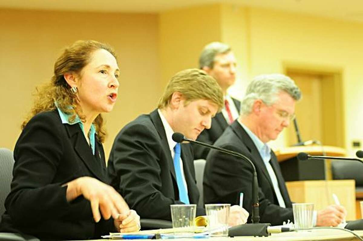 Elizabeth Esty makes a point at a debate in Torrington as Dan Roberti and Chris Donovan, the other two Democrats running for 5th District Congress, prepare to respond. Rick Thomason/Register Citizen