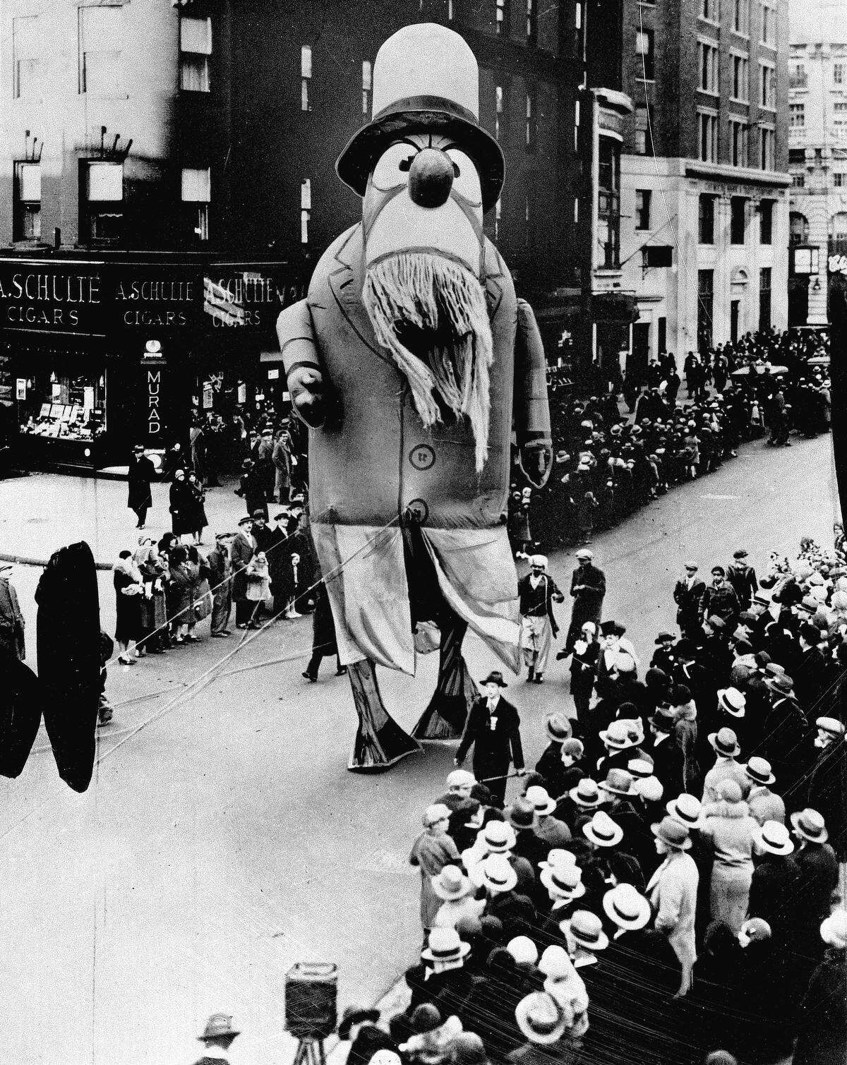 A large outdoor float of Captain Nemo makes its way down the street during the Macy's Thanksgiving Day parade in New York City on Nov. 28, 1929. (AP Photo)