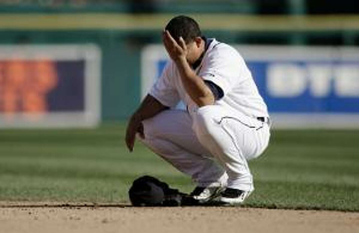 In this Oct. 1, 2009 file photo, Detroit Tigers first baseman Miguel Cabrera is shown during a game against the Minnesota Twins in Detroit. Cabrera was arrested Wednesday night on charges of drunk driving and two counts of resisting an officer without violence in St. Lucie County, Florida.(AP Photo/Paul Sancya)