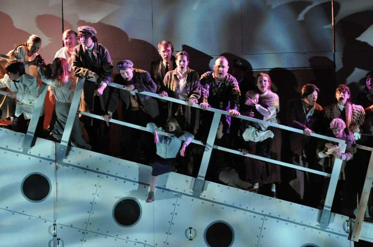Cast members on the sinking luxury liner in the Warner Theatre's