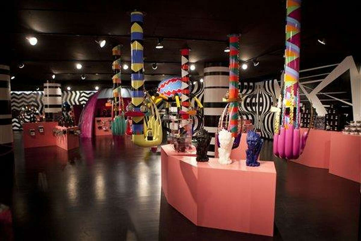 Displays are set up throughout Gaga's Workshop, a collaborative fashion and lifestyle project between Lady Gaga and Barney's New York, at the Barney's store on East 60th Street in New York on Monday, Nov. 21, 2011. (AP Photo/Andrew Burton)