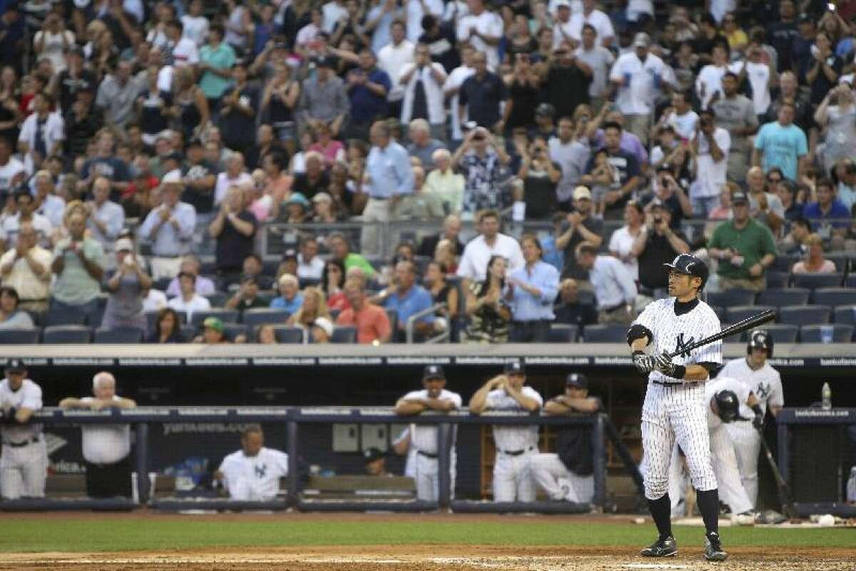 ASSOCIATED PRESS New York Yankees' Ichiro Suzuki comes up to bat during the second inning of Friday night's game against the Boston Red Sox at Yankee Stadium in New York.