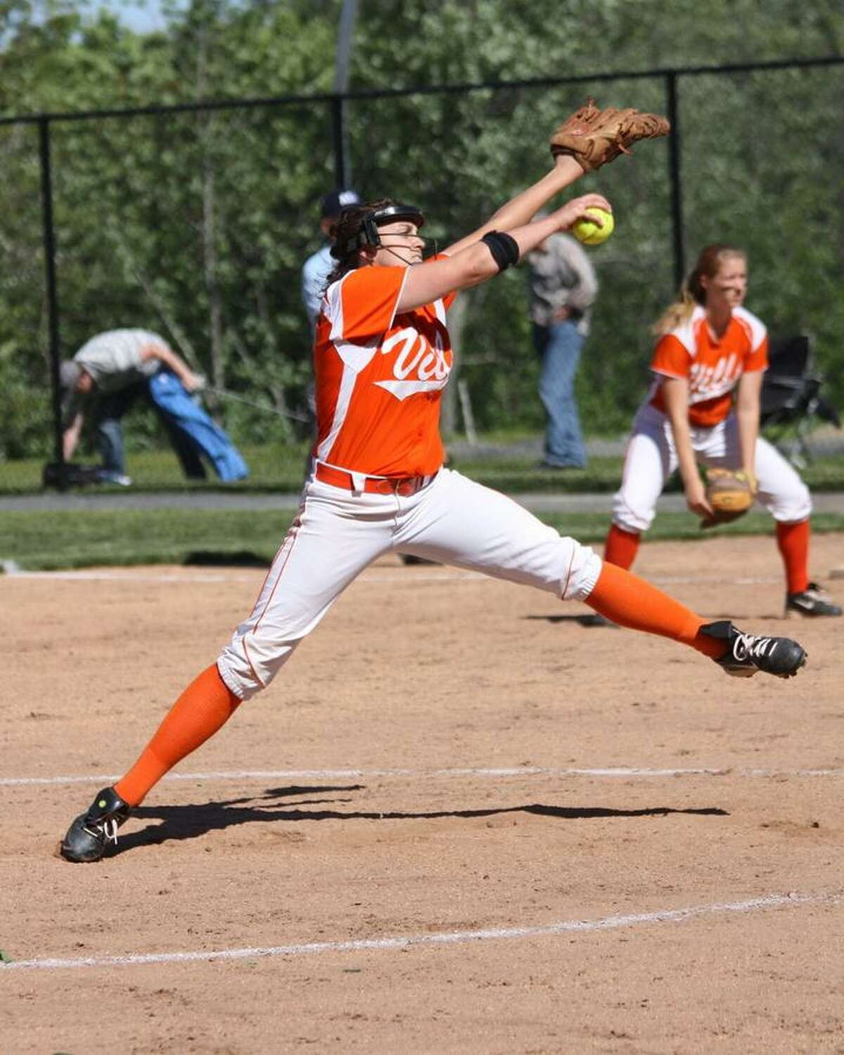 MARIANNE KILLACKEY/Register Citizen Correspondent Terryville's Jaime Bridge delivers a pitch during the Kangaroos' 4-1 win over East Granby in Terryville on Thursday.