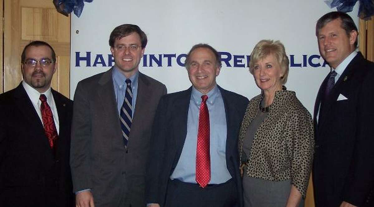 Submitted photo Above, from left, are Harwinton Selectman Michael Criss, state Sen. Jason Welch of the 31st District; Mark Greenberg,candidate for Connecticut's 5th District: Linda McMahon, former US Senatorial Candidate and state Senator Kevin Witkos of the 8th District.