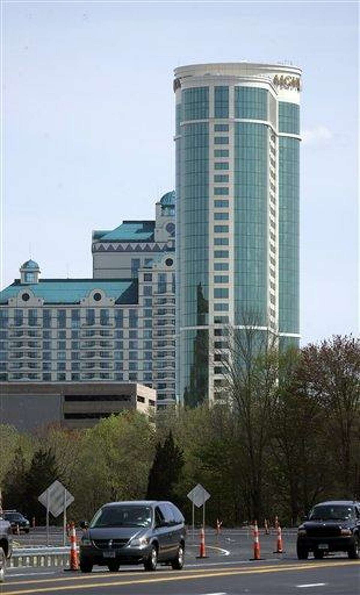The MGM Grand Hotel, part of the Foxwoods Resort Casino, dominates the skyline in Mashantucket. Associated Press file photo