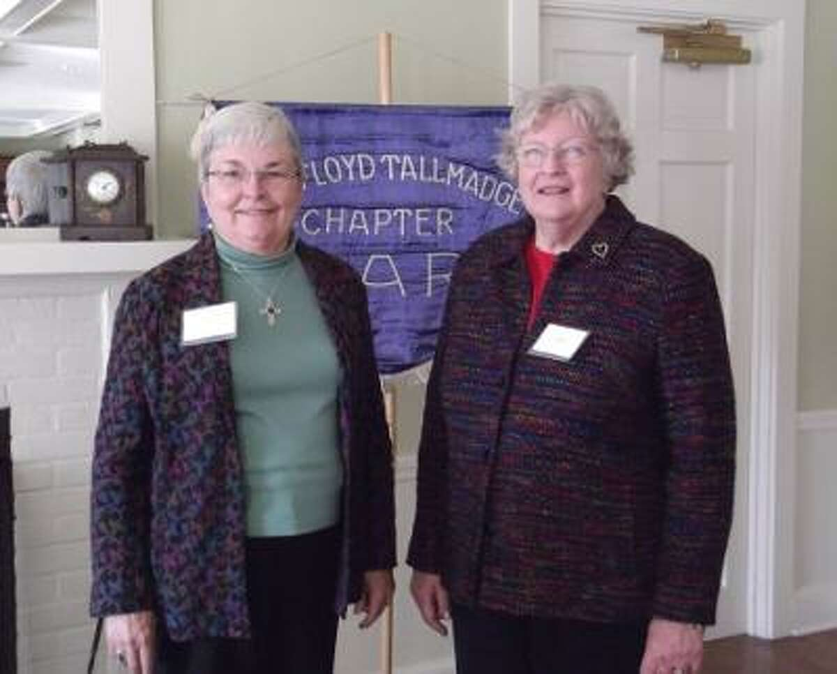 KAITLYN YEAGER/Register Citizen Award winners Ann Bott (left) and Mary Loyer were honored by the Mary Floyd Tallmadge Chapter of the Daughters of the American Revolution Sunday for their community service.