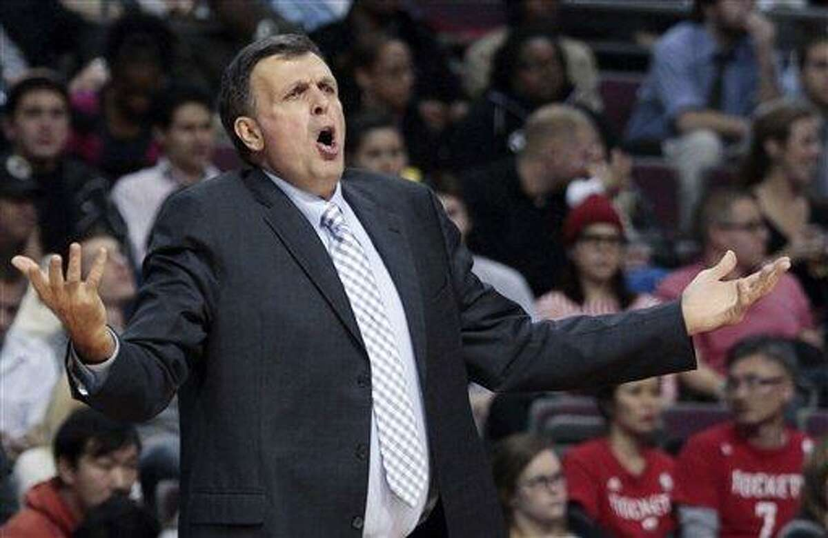 Houston Rockets coach Kevin McHale reacts after his team was whistled for a foul in the fourth quarter of an NBA basketball game against the Detroit Pistons on Oct. 31. AP Photo/Duane Burleson